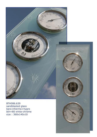 D & D Barometers Weather Station in Frosted and Etched Glass - BellClocks.com