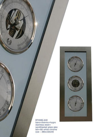 D & D Barometers Weather Station, Brushed Stainless & Glass - BellClocks.com