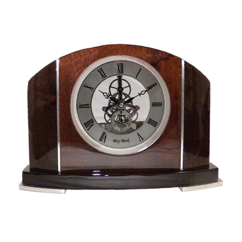 """Cairo"" Skeleton Quartz Clock, Bey Berk CM683 - BellClocks.com"
