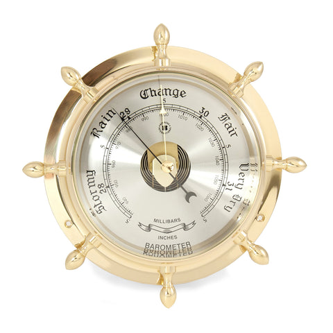 Classic Brass Ship's Wheel Barometer, Bey Berk SB402 - BellClocks.com