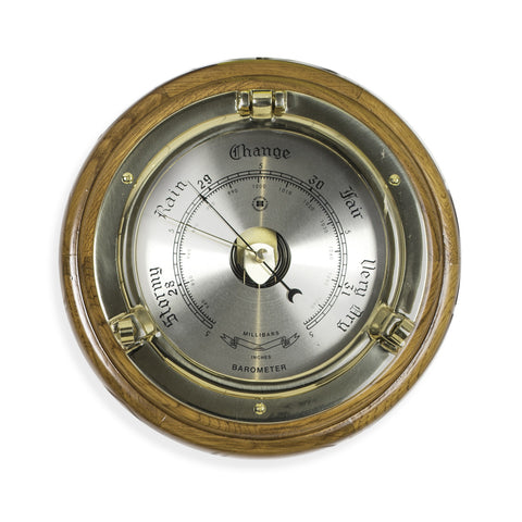 Brass Porthole Barometer on Oak, Bey Berk SB408 - BellClocks.com