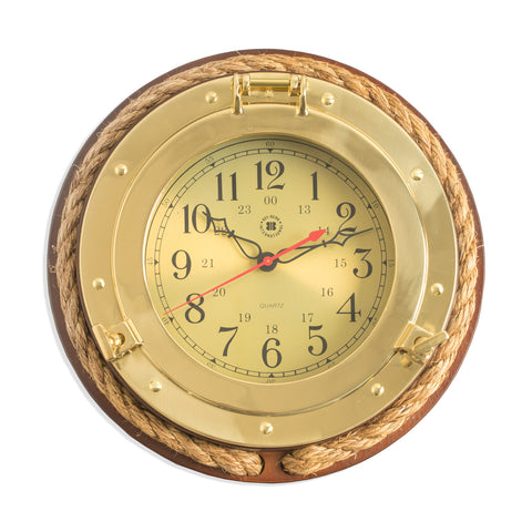 Brass Porthole Quartz Clock on Dark Cherry with Rope, Bey Berk SQ501 - BellClocks.com