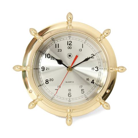 Classic Brass Ship's Wheel Clock, Bey Berk SQ502 - BellClocks.com