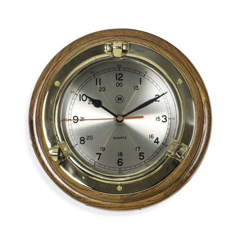 Brass Porthole Quartz Clock on Oak Wood, Bey Berk SQ508 - BellClocks.com