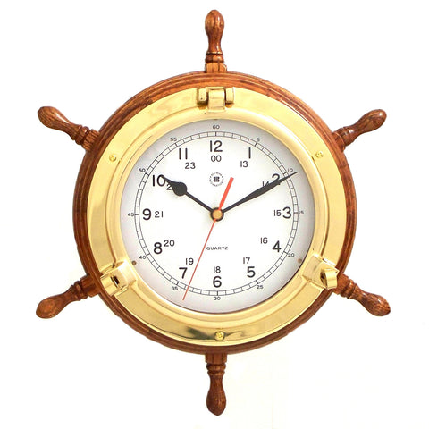 Brass Porthole Oak Ship's Wheel Clock, Bey Berk SQ509 - BellClocks.com