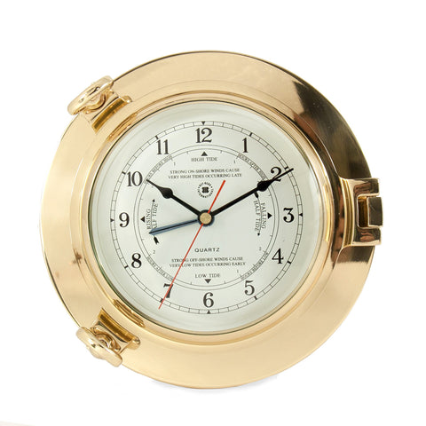 Brass Porthole Tide Time Clock, Bey Berk SQ511 - BellClocks.com