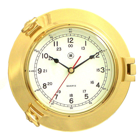 Lacquered Brass Porthole Clock, Bey Berk SQ513 - BellClocks.com