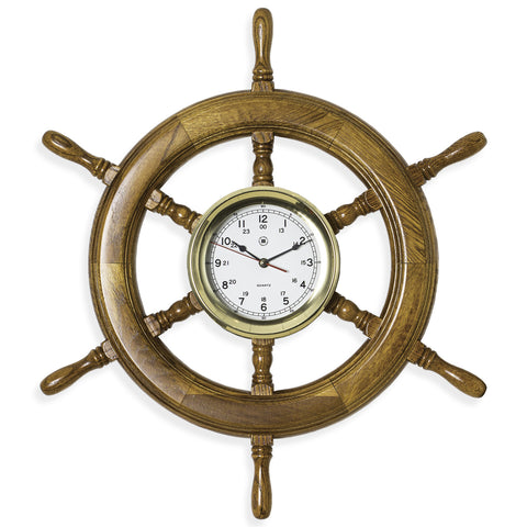 Oak Ship's Wheel Brass Clock, Bey Berk SQ514 - BellClocks.com