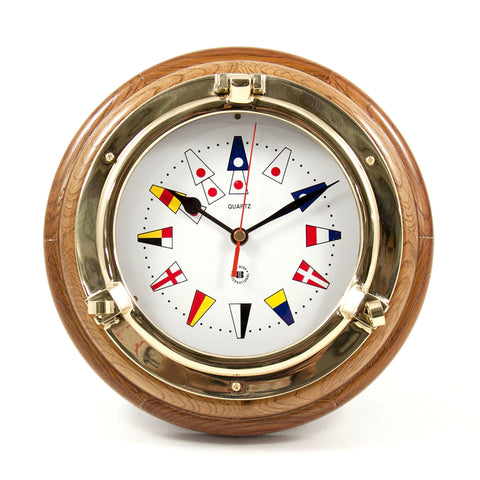Nautical Flag Brass Porthole Clock on Oak Wood, Bey Berk SQ517 - BellClocks.com