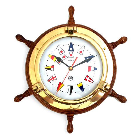 Nautical Flag Brass Porthole Oak Ship's Wheel Clock, Bey Berk SQ518 - BellClocks.com