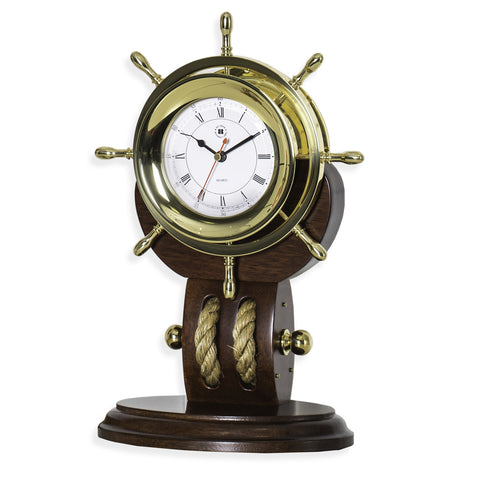 Brass Ship's Wheel Clock with Rope on Teak Base, Bey Berk SQ521T - BellClocks.com
