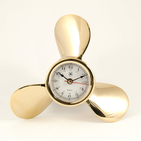 Brass Ship's Propeller Clock, Bey Berk SQ522 - BellClocks.com