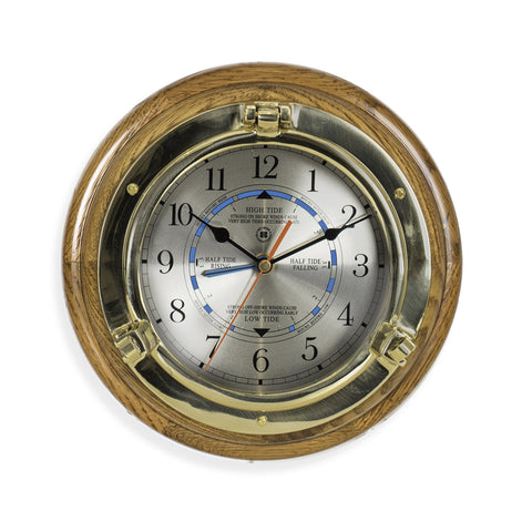 Brass Porthole Tide Time Clock on Oak Wood, Bey Berk SQ528 - BellClocks.com