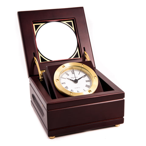 Brass Box Clock in Mahogany Box, Bey Berk SQ540T - BellClocks.com