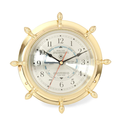 Classic Brass Ship's Wheel Tide Time Clock, Bey Berk SQ562 - BellClocks.com