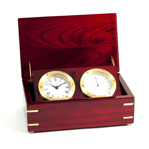 Box Clock & Thermometer Set in Rosewood Box, Bey Berk SQ580T - BellClocks.com