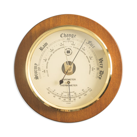 Weather Station, Barometer & Thermometer on Cherry, Bey Berk WS075 - BellClocks.com