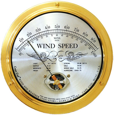 Cape Cod Wind Speed Indicator with Peak Gust - BellClocks.com