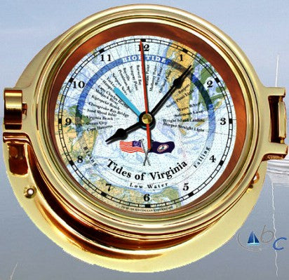 "Ocean Clocks Tides of Chesapeake Bay Tide Time Clock, 4"" Dial Brass - BellClocks.com"