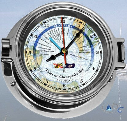 "Ocean Clocks Tides of Chesapeake Bay Tide Time Clock, 4"" Dial Chrome - BellClocks.com"