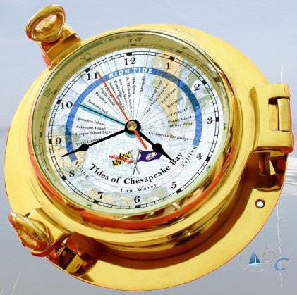 "Ocean Clocks Tides of Chesapeake Bay Tide Time Clock, 4.5"" Dial Brass - BellClocks.com"