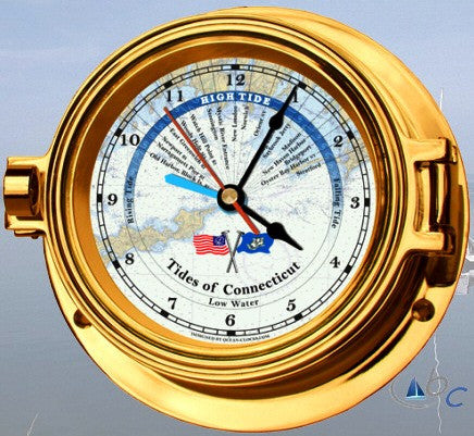 "Ocean Clocks Tides of Connecticut Tide Time Clock, 4"" Dial Brass - BellClocks.com"