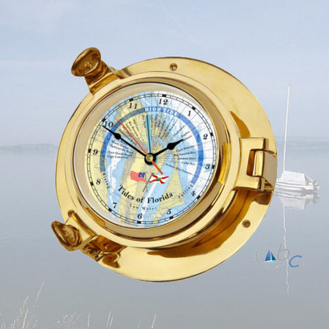 "Ocean Clocks Tides of Florida Tide Time Clock, 3"" Dial Brass - BellClocks.com"