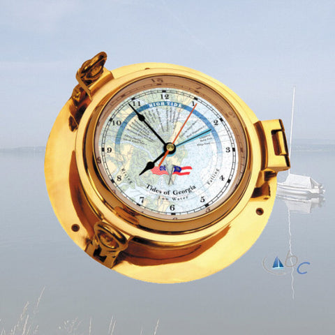 "Ocean Clocks Tides of St. Catherine's Sound, GA. Tide Time Clock, 3"" Dial Brass - BellClocks.com"