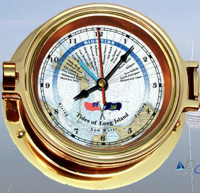 "Ocean Clocks Tides of Long Island Tide Time Clock, 4"" Dial Brass - BellClocks.com"