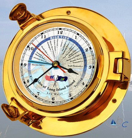 "Ocean Clocks Tides of Long Island Sound Tide Time Clock, 4.5"" Dial Brass - BellClocks.com"