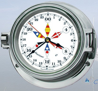"Ocean Clocks 24 Hour Clock, 4"" Dial Chrome - BellClocks.com"