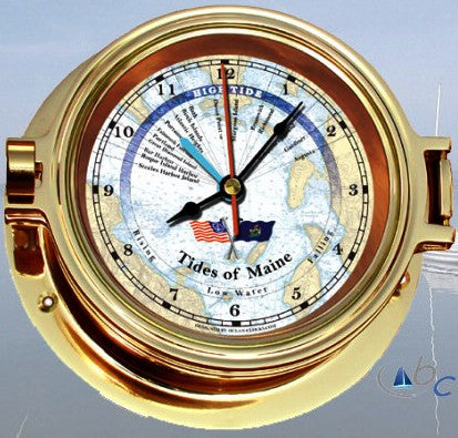 "Ocean Clocks Tides of Maine Tide Time Clock, 4"" Dial Brass - BellClocks.com"