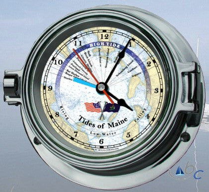 "Ocean Clocks Tides of Maine Tide Time Clock, 4"" Dial Chrome - BellClocks.com"