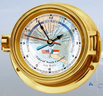"Ocean Clocks Tides of Cape Fear NC. Tide Time Clock, 4"" Dial Brass - BellClocks.com"