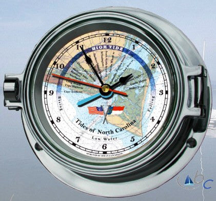 "Ocean Clocks Tides of Cape Fear NC. Tide Time Clock, 4"" Dial Chrome - BellClocks.com"