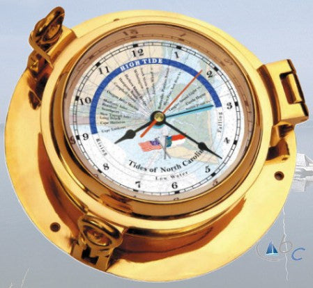 "Ocean Clocks Tides of Cape Fear NC. Tide Time Clock, 4.5"" Dial Brass - BellClocks.com"