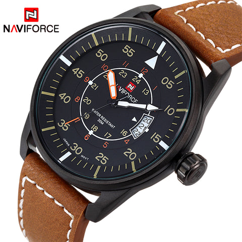 NAVIFORCE Men's Ultra Thin 12/24 Hour Dial Military Style Sport Watch, NF9044