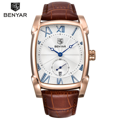 BENYAR Men's Rectangle Case Auto Date Quartz Watch BY5114M