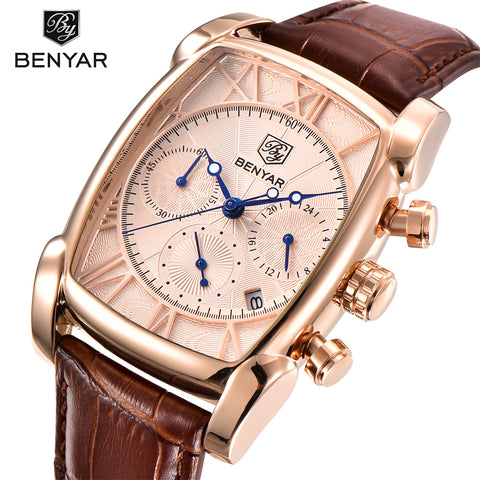 BENYAR Men's Rectangle Case Sport Chronograph Watch BY5113M