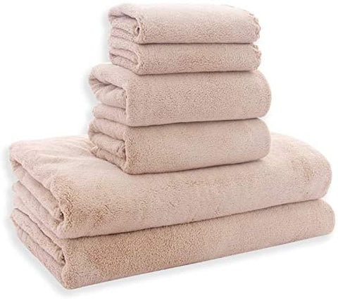 MoonQueen Ultra Soft Towel Set - Quick Drying - 2 Bath Towels 2 Hand Towels 2 Washcloths - Microfiber Coral Velvet Highly Absorbent Towel for Bath Fitness, Bathroom, Sports, Yoga, Travel (Pink, 6 Pcs)