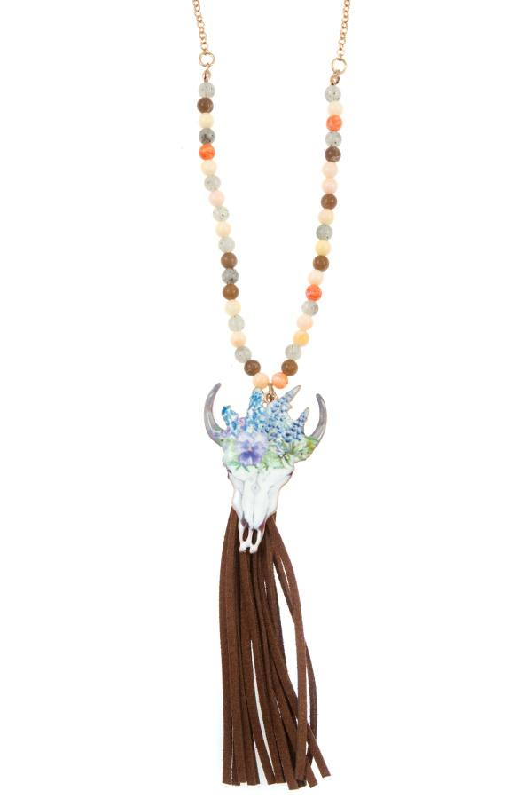 Etched bull suede tassel beaded long necklace set