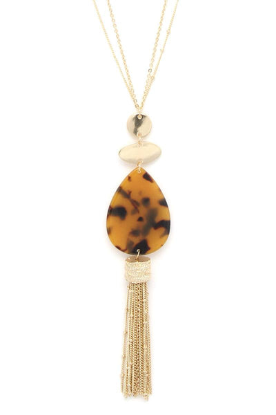 Acetate teardrop chain tassel pendant necklace
