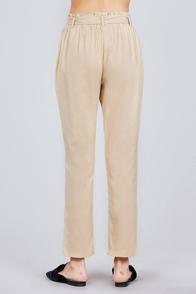 Paper Bag W/bow Tie Long Linen Pants