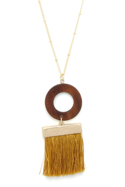 Wooden Circle Tassel Pendant Necklace