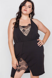 Plus Size Lace Detail Bodycon Mini Dress