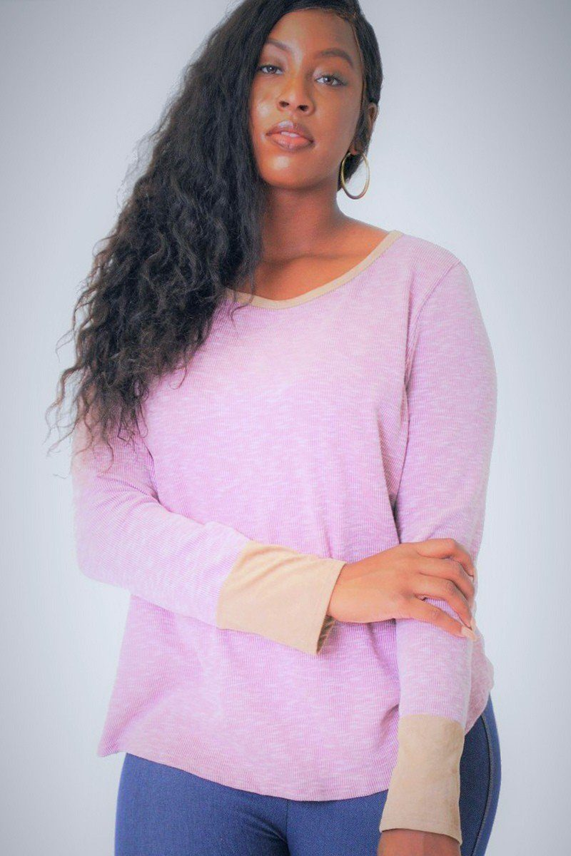 Solid, Waist Length Long Sleeve Top In A Relaxed Style With A Round Neck And Faux Suede Contrast Wrist Cuff.