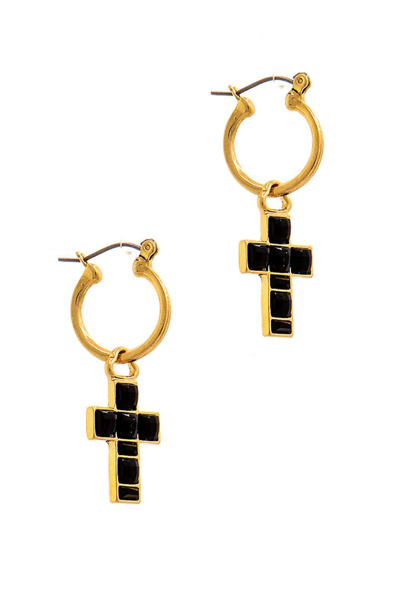 Fashion Multi Rhinestone Cross Drop Earring