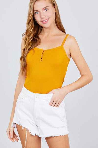 Front Button Down Detail Rayon Spandex Rib Cami Knit Top