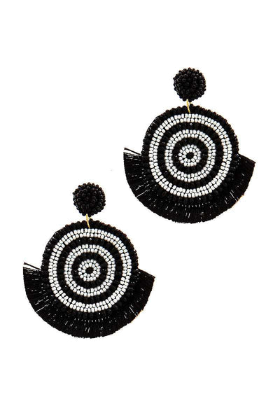 Chic Multi Bead And Fan Tassel Earring