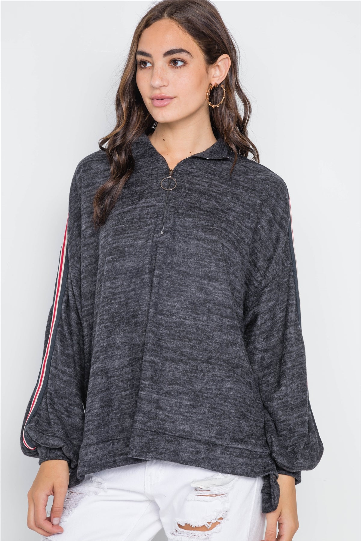 Charcoal Contrast Trim Stripe Sleeves Sweater